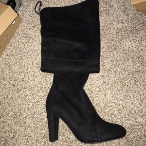 Black suede knee high boots. Size 8